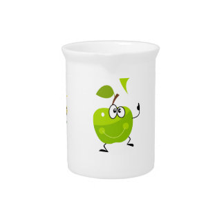 Green hand-drawn illustrated Apples Pitcher