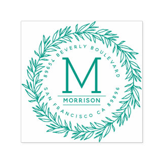 Green Hand-drawn Wreath | Initial Return Address Self-inking Stamp
