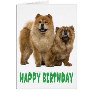 Green Happy Birthday Chow Chow Puppy Dog Card