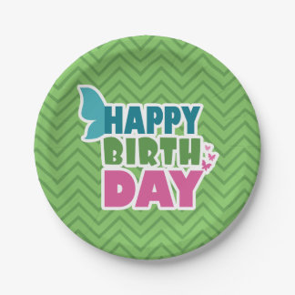 Green happy birthday spring butterfly paper plate
