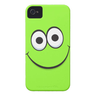 Green happy cartoon smiley face iPhone 4 case