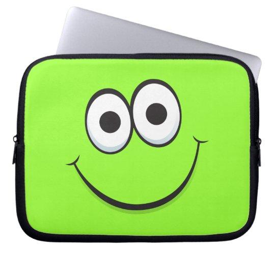 Green happy cartoon smiley face laptop sleeve