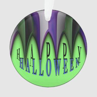 Green Happy Halloween Striped Fangs Ornament