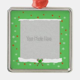 Green Happy Holiday Snowflakes (photo frame) Christmas Tree Ornaments