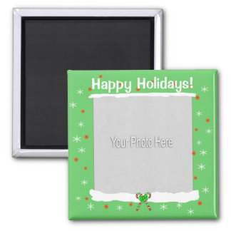 Green Happy Holiday Snowflakes (photo frame) Magnet