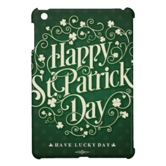 Green Happy Saint Patrick day ornament typography Case For The iPad Mini
