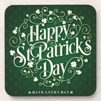 Green Happy Saint Patrick day ornament typography Coaster