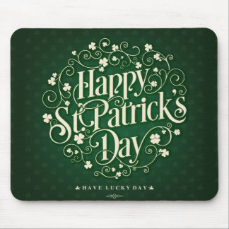 Green Happy Saint Patrick day ornament typography Mouse Pad