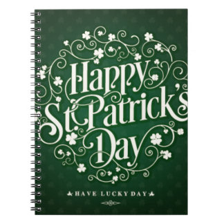 Green Happy Saint Patrick day ornament typography Notebooks
