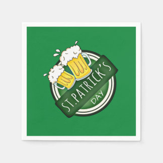 Green Happy St Patricks Day Shield With Two Beers Disposable Serviette