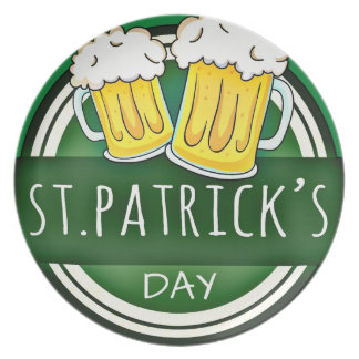 Green Happy St Patricks Day Shield With Two Beers Plate