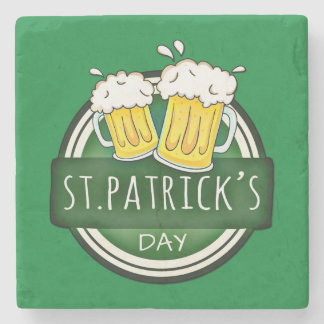 Green Happy St Patricks Day Shield With Two Beers Stone Coaster