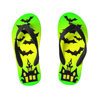 Green Haunted House and Bats Kid's Thongs