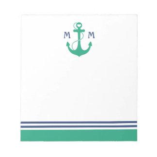 Green Heart Anchor Monogram Notepad