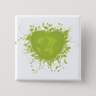 Green Heart and Earth 15 Cm Square Badge