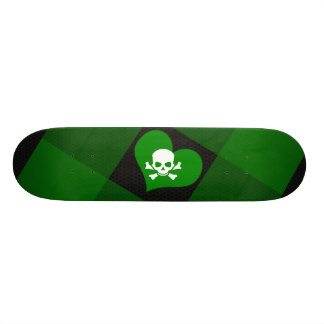 Green heart and skull skate board deck