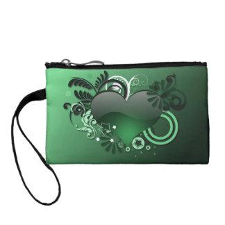 green heart coin purses