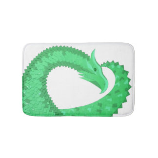 Green heart dragon on white bath mat