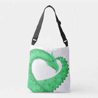 Green heart dragon on white crossbody bag