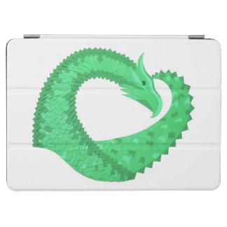 Green heart dragon on white iPad air cover