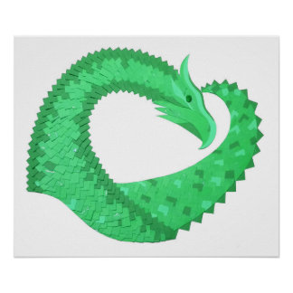Green heart dragon on white poster