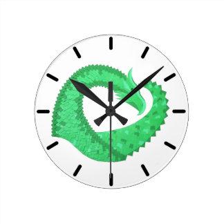 Green heart dragon on white round clock