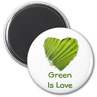 Green Heart, Green Is Love 6 Cm Round Magnet