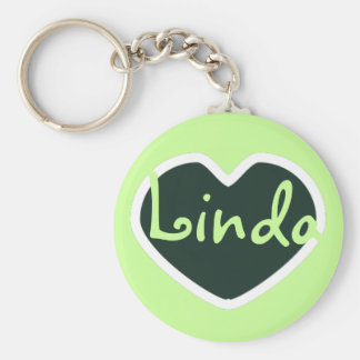 green heart name keychain