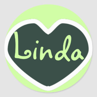 green heart name sticker