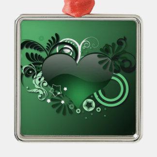 green heart ornaments