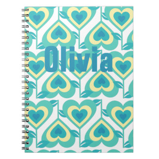 Green Heart Pattern Personnalised Spiral Notebook