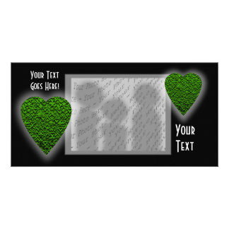 Green Heart. Patterned Heart Design. Customised Photo Card
