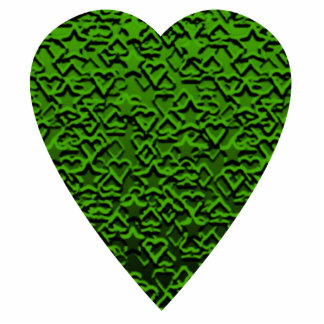 Green Heart. Patterned Heart Design. Photo Sculpture Decoration
