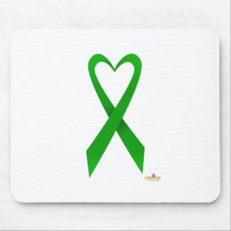 Green Heart Shaped Awareness Ribbon Mouse Pads