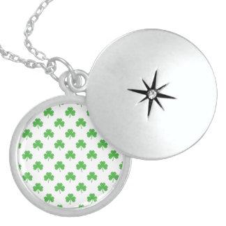 Green Heart-Shaped Clover on White St. Patrick's Lockets