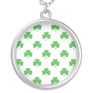 Green Heart-Shaped Clover on White St. Patrick's Jewelry