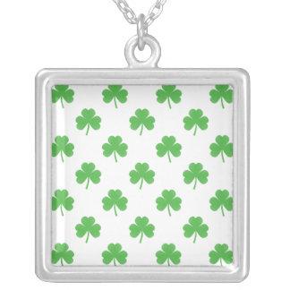 Green Heart-Shaped Clover on White St. Patrick's Pendant