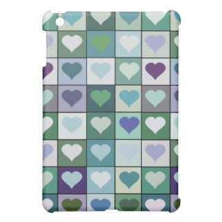 Green Heart Squares Cover For The iPad Mini