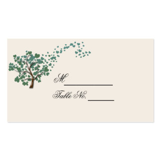 Green Heart Tree on Ivory Wedding Place Card Business Cards