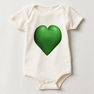 Green Heart - Valentine's - St. Patrick's Day Baby Bodysuit