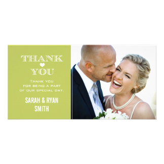 Green Heart Wedding Photo Thank You Cards Personalized Photo Card