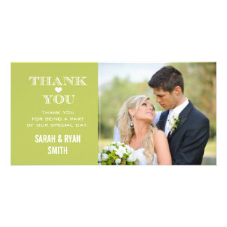 Green Heart Wedding Photo Thank You Cards Photo Card Template