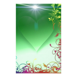 Green Heart with Frilly Border Stationery
