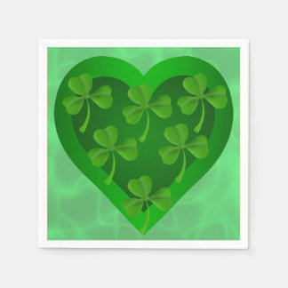 Green Heart with Shamrocks Disposable Serviettes