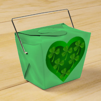 Green Heart with Shamrocks Favour Box