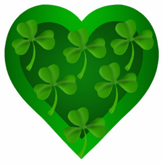 Green Heart with Shamrocks Magnet Photo Sculpture Magnet