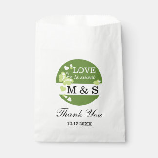 Green Hearts And Butterflies|Monogram Party Favor Favour Bags