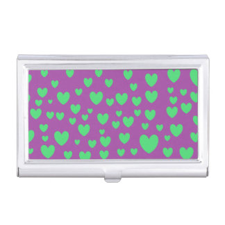 Green Hearts Business Card Holder