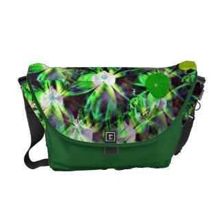 Green hearts fantasy art messenger bag