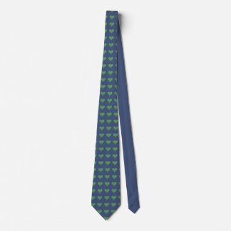 Green hearts on blue tie